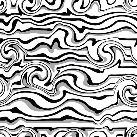 Seamless black-white wave pattern