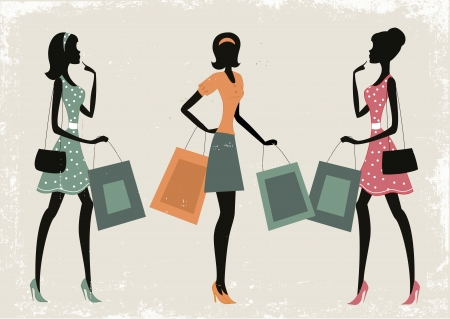 Silhouettes of women shopping on a retro grunge background  Vector
