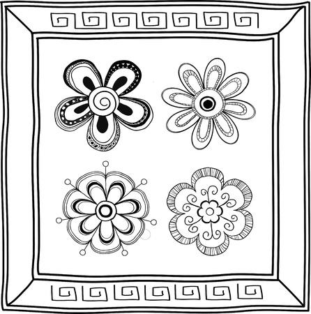 Set of doodle hand-drawn flowers  and frame Illustration