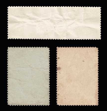wrinkled paper: Set of old stamps, back side  Can be useful as a vintage backgrounds  Illustration