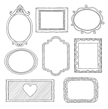 hand drawn frame: Set of hand drawn doodle frames  Illustration