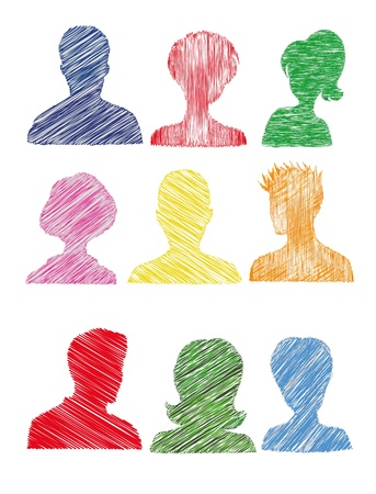 unrecognizable person: Colorful silhouettes with scribble effect  Isolated  Illustration