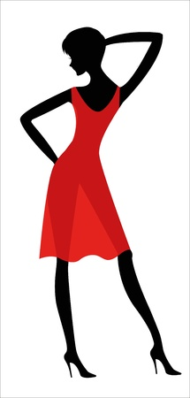 girl in red dress: Woman in a red dress Print