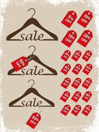 Set of hangers with price tags on a grunge background  Illustration