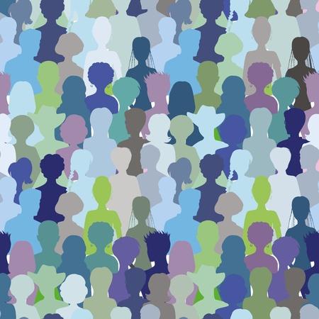 Crowd- seamless pattern, blue color Illustration