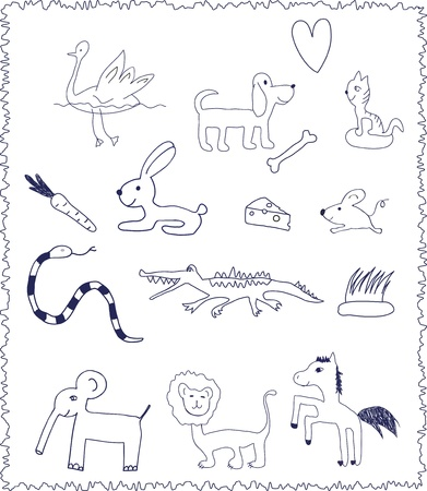 Animals  Doodle handdrawn drawing style  Stock Vector - 19756000