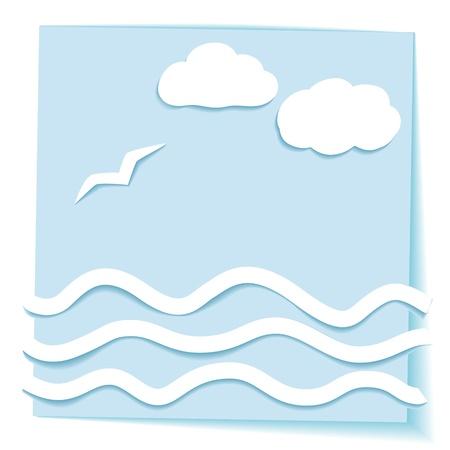 Paper sea landscape, 3D effect
