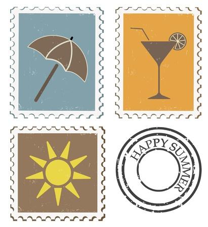 Summer postage stamps, vintage style  Illustration