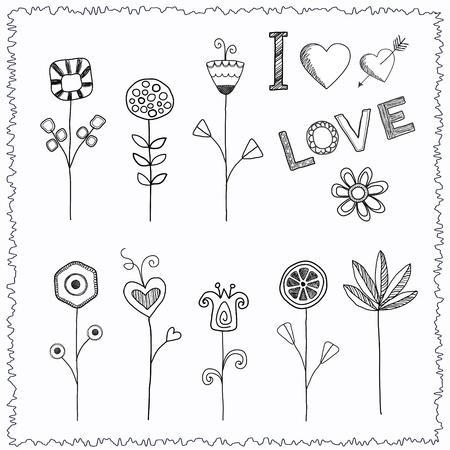 Doodle hand drawn flower set Ilustração