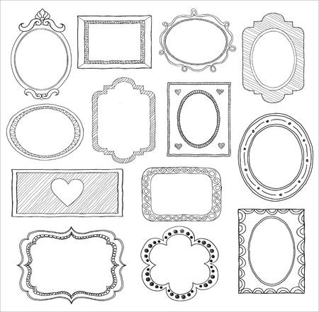 Hand drawn doodle frame set