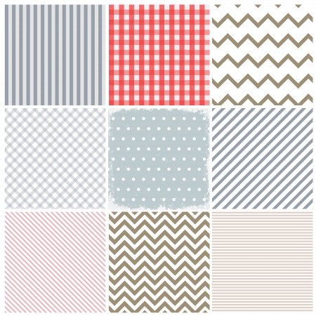 Set of seamless patterns and a grunge frame  in the middle