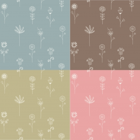 Set of seamless flower patterns, doodle style
