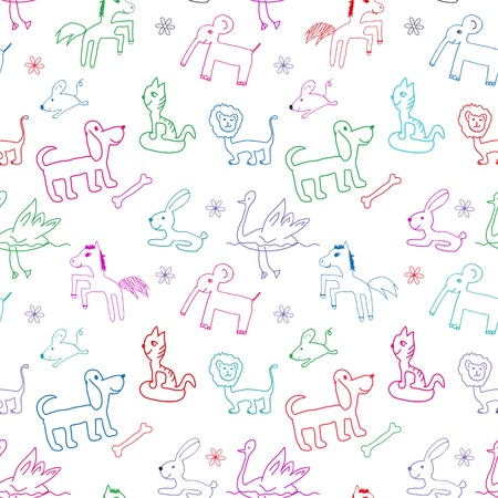 Seamless pattern  Doodle child drawing style  Vector