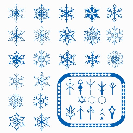 Set of snowflakes and elements