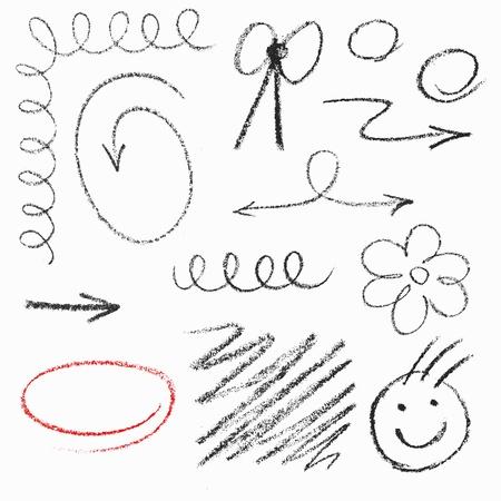 Set of hand drawn pastel elements.