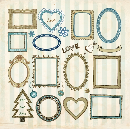 Set of doodle frames and other elements on a vintage background. The pattern with stripes (without transparent layer and grunge frame) is seamless.