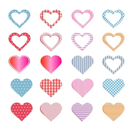 Hearts collection and also set of seamless patterns in Panel Swatches. Vector