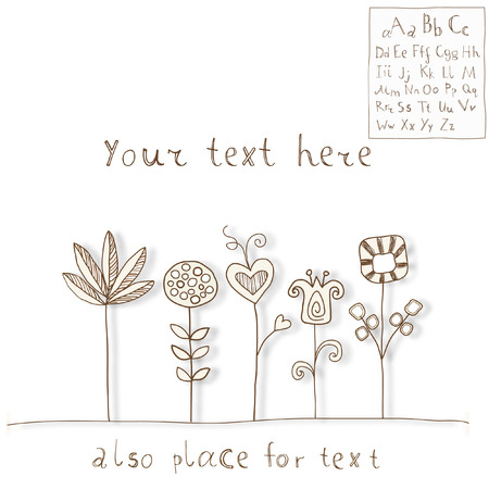 Flowers and Font. Doodle style Illustration