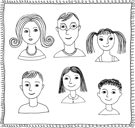 bocetos de personas: Conjunto de garabato enfrenta aislado en un fondo blanco