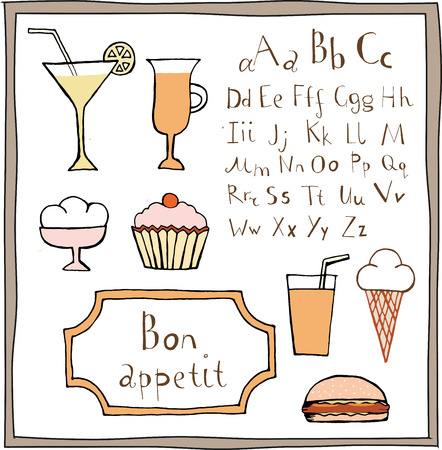 Doodle food drawings and ABC set. Objects are isolated on a white background.