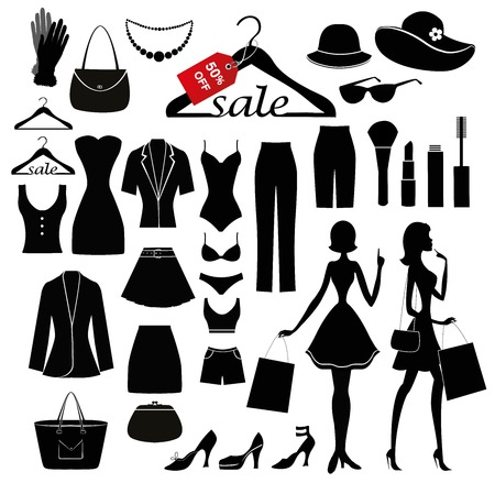 Clothes silhouettes set and silhouettes of women with shopiing bags. All objets isolated on awhite background. Ilustração