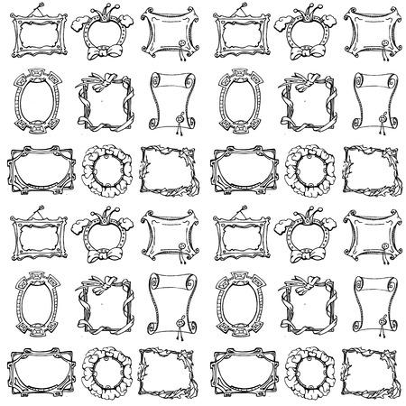 Doodle frames. Seamless pattern. Hand drawn ector illustration