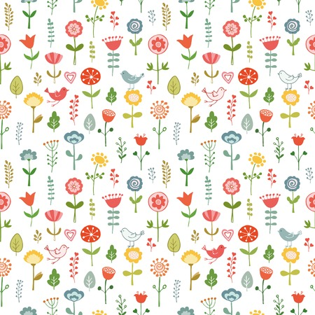 Seamless pattern made of doodle flowers. Hand drawn vector illustration.