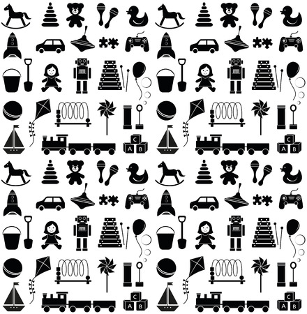 23 kinds if toy icons. Seamless pattern. Vector illustration