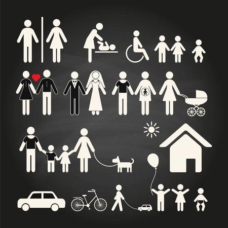 niños discapacitados: Conjunto de iconos de la familia sobre un fondo de pizarra. Conjunto de iconos de la familia y los signos de los lugares públicos sobre un fondo de pizarra. Ilustración del vector. Vectores