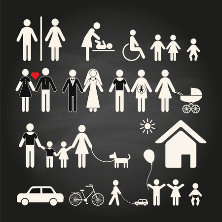 house wife: Set of family icons on a chalkboard background. Set of family icons and signs for public places on a chalkboard background. Vector illustration.