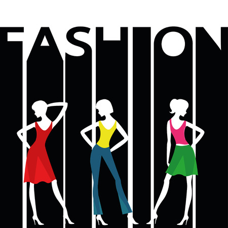 Women silhouettes on a background with a word FASHION.