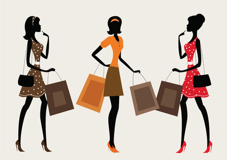 go to store: Three silhouettes of a women shopping. Retro style Illustration