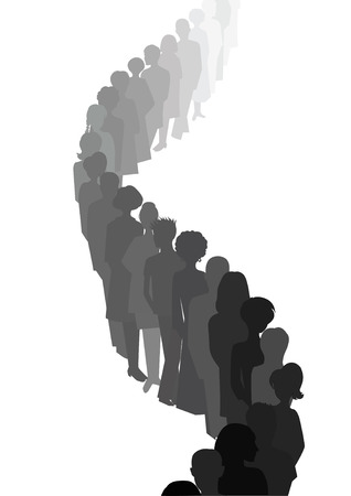 waiting in line: Line, made of people silhouettes. Men and women. Group. Vector illustration Illustration