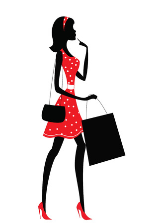 girl in red dress: Silhouette of a woman shopping. Retro style Illustration