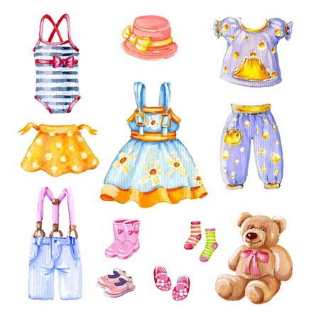 Girls clothes. Watercolor collection. Hand drawn vector illustration.