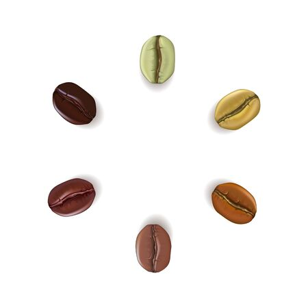 Realistic coffee beans of different colors placed in circle with Stock Photo