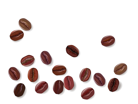 Realistic offee beans isolated on a white background. Vector illustration.