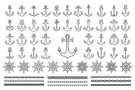 Reeks zwarte pictogrammen van zeethema - ankers, kabels en zeewielen