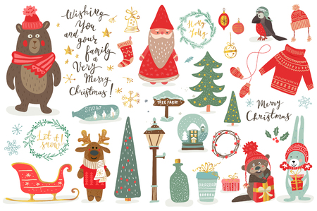 Hand drawn Christmas set in cartoon style. Funny card with cute animals and other elements: bear, deer, rabit, santa, Christmas tree, lettering.