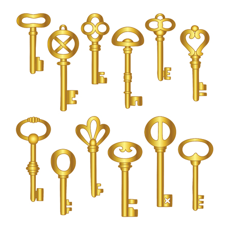 Keys icons set, isolated. Gold keys signs and symbols collection. Locking and unlocking doors vintage keys pictogram, vector illustration. Stock Photo