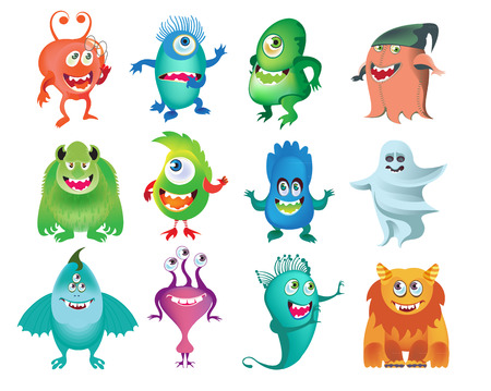 Cartoon cutemMonsters collection. Vector set of cartoon monsters isolated. Design for print, party decoration, t-shirt, illustration, logo, emblem or sticker