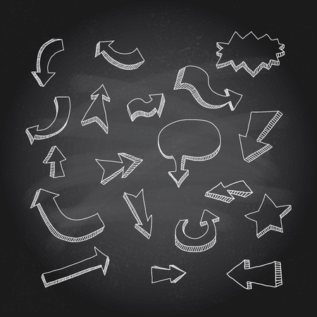 Hand drawn arrows icons set on chalkboard