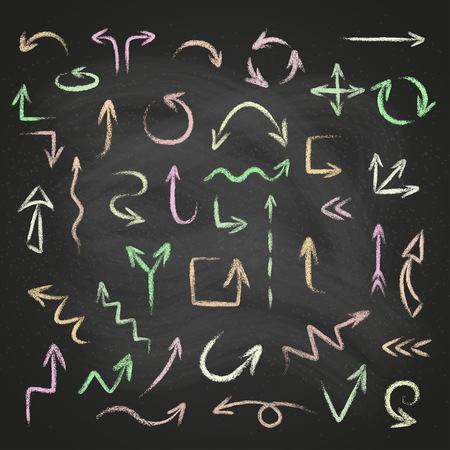 Hand drawn doodle arrows set made of chalk or pastel texture on a blackboard background.