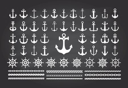 Set of icons of sea theme on a blackbord background- anchors, ropes and sea wheels.