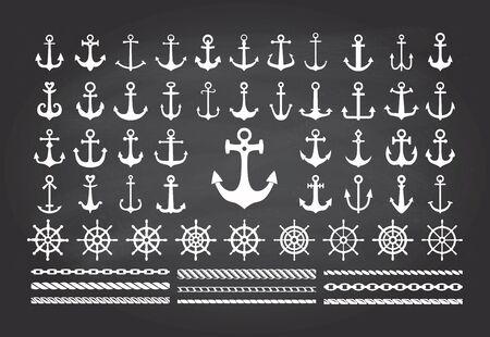 Set van pictogrammen van zee thema op een blackbord achtergrond-ankers, touwen en zee wielen.