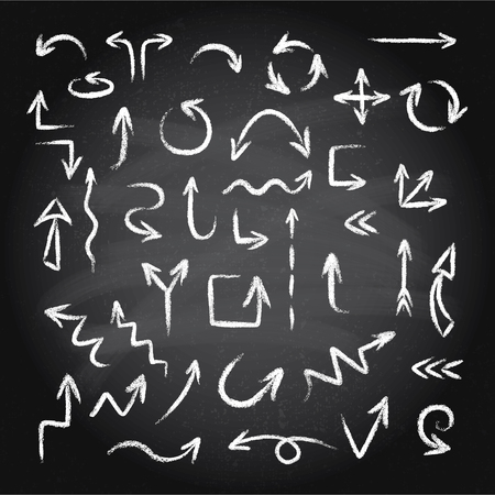 Hand drawn doodle arrows set made of chalk or pastel texture on a blackboard background. Illustration