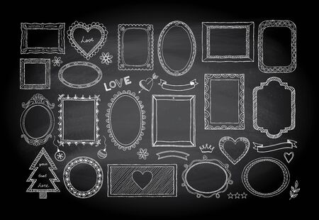 Big set of hand drawn isolated frames and different elements on a blackboard background: hearts, banners, flowers, lettering.