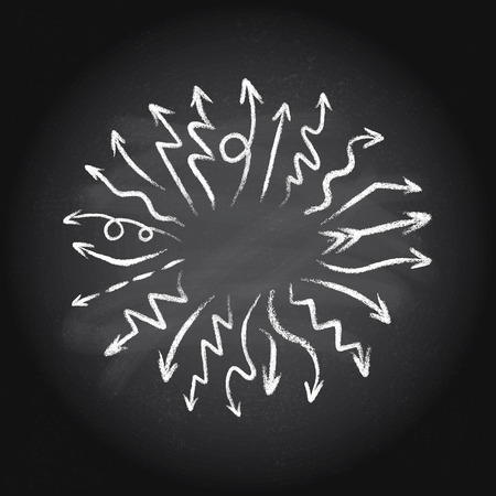 Hand drawn doodle arrows set made of chalk or pastel texture, pointing out of the center on a blackboard background