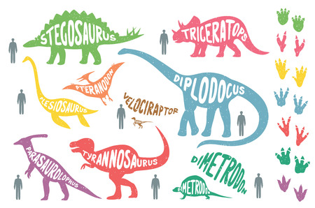 Set of colorful dinosaurs with lettering and footprints, isolated on wite background. Size of dinosaurs vs man size. Illustration