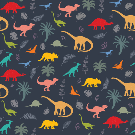 Seamless pattern with dinosaur silhouettes. Illustration
